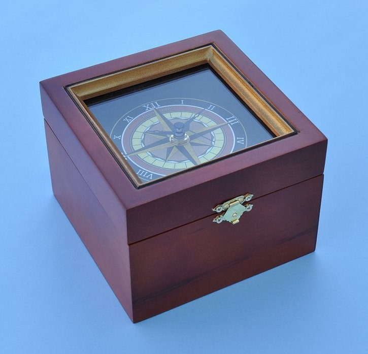 Stanley London Nautical Compass Rose Clock in Wooden Box