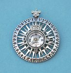Compass Rose Pendant with Working Compass and Fleur-de-lis Design