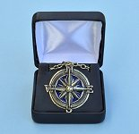 Antique Blue Compass Rose Pendant with Chain in Hinged Gift Box