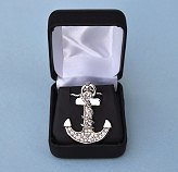 Nautical Anchor Pendant with Rhinestones and Optional Sterling Silver Box Chain in Hinged Gift Box