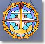 Anchor, Ship's Wheel, Compass Rose Stained Glass