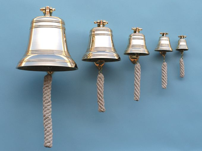 Eight Sizes of Solid Brass Ship's Bells