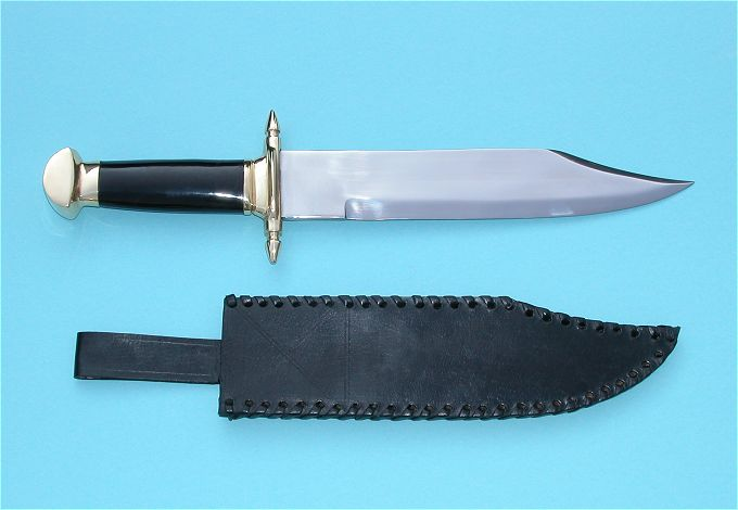 Marine Bowie Knife with Leather Sheath