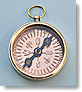 Small Polished Brass Open Faced Pocket Compass with Copper Compass Rose