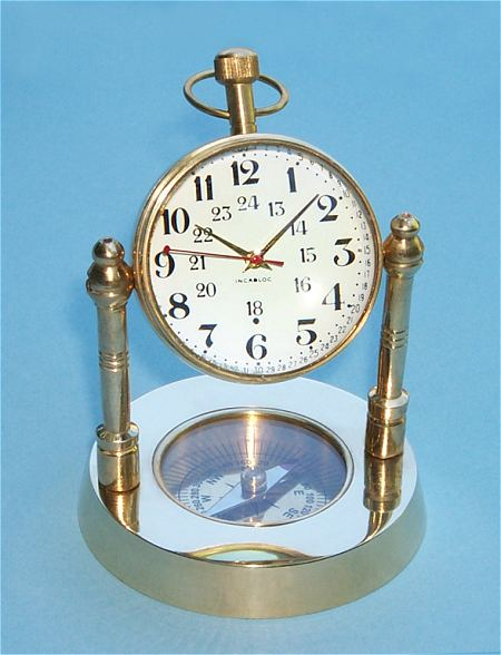 Brass Spherical Desk Clock with Magnetic Compass