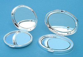 Round and Oval Silver Plated Compact Mirrors