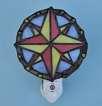 Compass Rose Stained Glass Night Light with Automatic Photocell
