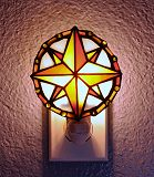 Compass Rose Stained Glass Night Light with Rocker Switch