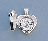 Elegant Heart Design Silver Compass Locket with Cover Open