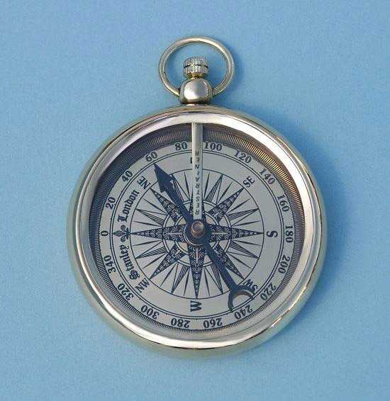 Open Faced Pocket Watch Style Compass