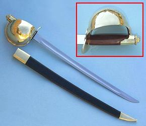 Naval Cutlass with Leather Scabbard with 26 inch Blade and Hardwood Grip