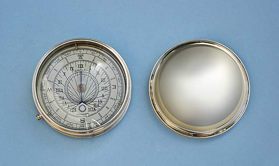 Stanley London Large Polished Brass Sundial Compass with Removable Lid