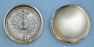 Large Polished Brass Sundial Compass with Removable Lid