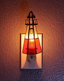 Lighthouse Stained Glass Night Light with Automatic Photocell