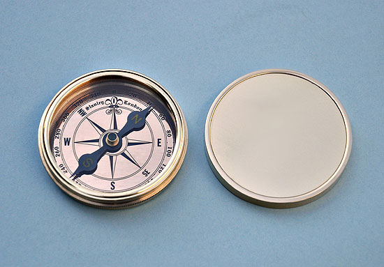 Stanley London Polished Brass Desk Compass with Removable Lid