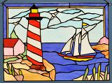 Detail of Lighthouse and Sailboat