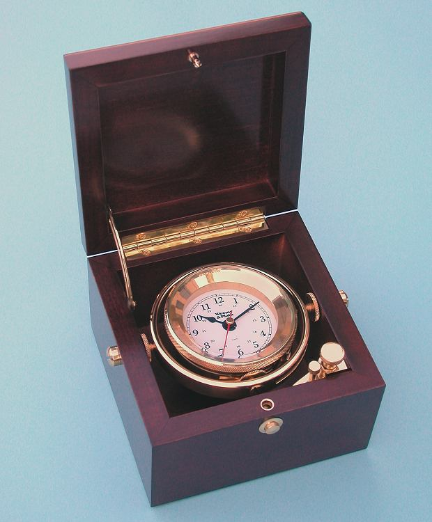 Weems and Plath Solid Brass Boxed Clock with Quartz Movement
